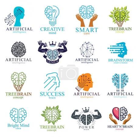 Illustration pour Cerveau et intelligence icônes concepts ensemble - image libre de droit