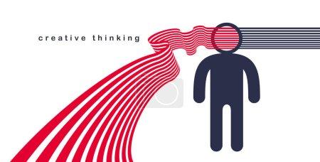 Illustration pour Concept de vecteur de cerveau d'esprit créatif dans le style plat de conception à la mode, rayures sort de la tête de l'homme symbolise les idées créatives et la pensée, artiste designer ou écrivain auteur . - image libre de droit
