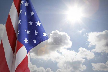 American flag in sky
