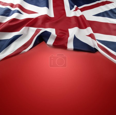 Union Jack flag on red