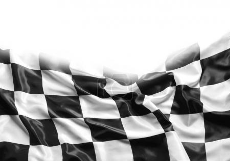 Checkered flag on white