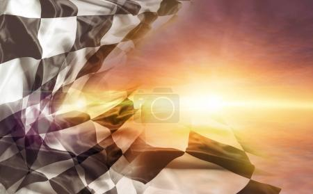 Checkered flag and sun