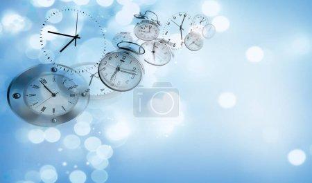 Clocks on blue