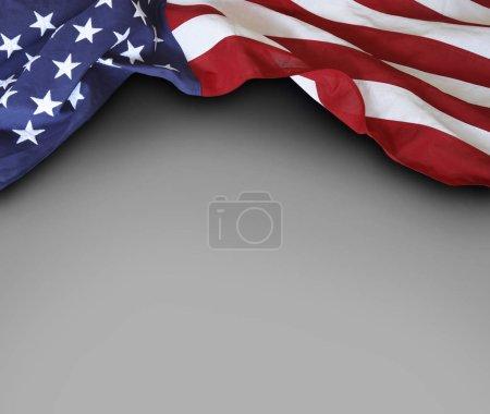 USA flag on grey