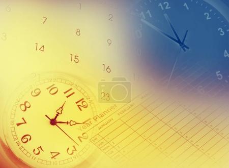 Clocks, calendar and year planner