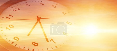 Photo for Clock face in bright sky. Time passing - Royalty Free Image
