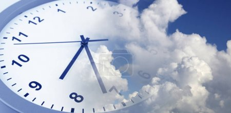 Clock face in blue sky. Time passing...
