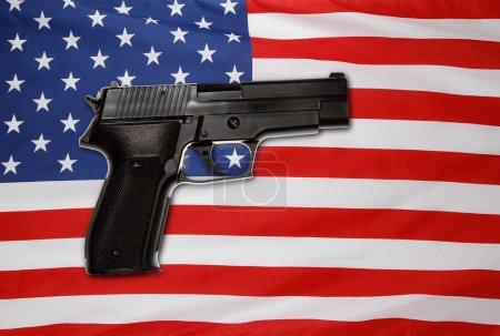 Gun and USA flag
