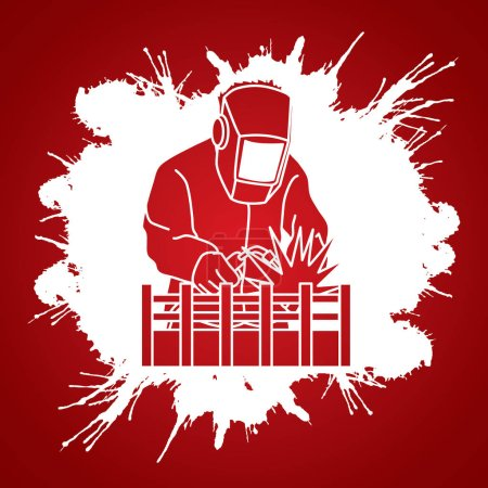 Illustration pour Soudage avec étincelles conçu sur fond d'encre éclaboussure vecteur graphique . - image libre de droit