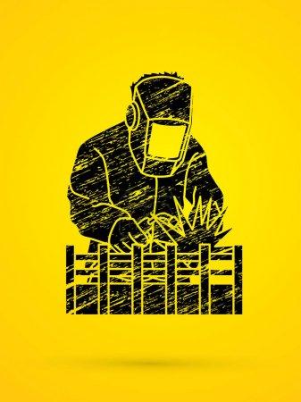Illustration pour Soudage avec étincelles conçu à l'aide d'un vecteur graphique brosse grunge . - image libre de droit