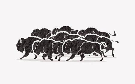 Illustration pour Groupe de buffles exécutant un vecteur graphique - image libre de droit