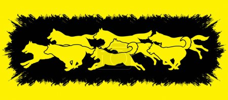 Dogs running vector.
