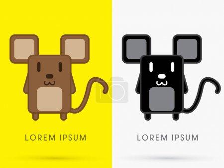 Brown and Black Rat  cute cartoon graphic vector....