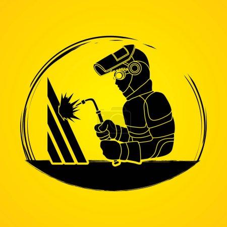 Illustration pour Soudeur travail brosse vecteur graphique . - image libre de droit
