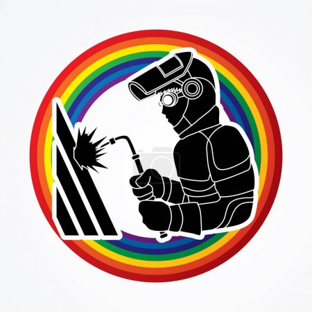 Illustration pour Soudeur travaillant conçu sur le vecteur graphique arc-en-ciel en ligne . - image libre de droit