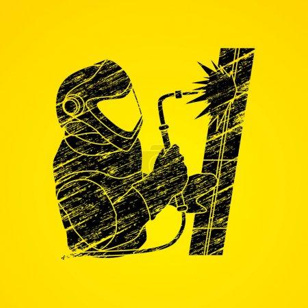 Illustration pour Soudeur de travail conçu à l'aide de brosse grunge noir vecteur graphique . - image libre de droit