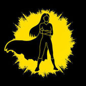 Super hero woman standing arms across the chest