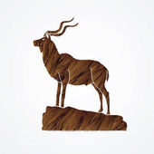 Kudu standing on the cliff graphic vector