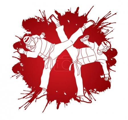 Taekwondo fighting graphic vector