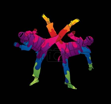 Taekwondo fighting graphic vector