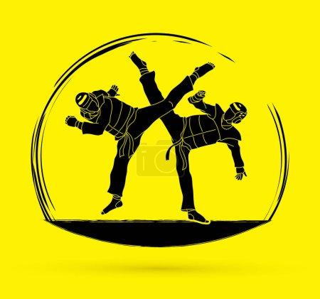Taekwondo fighting graphic