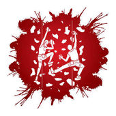 Man and woman climbing on the wall together Hiking indoor designed on splatter ink graphic vector