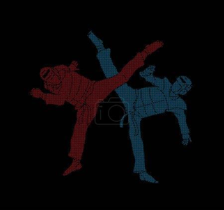 Taekwondo fighting graphic vector.