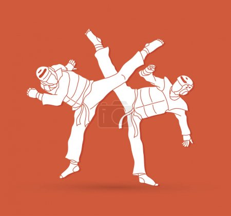 Taekwondo fighting graphic vector.