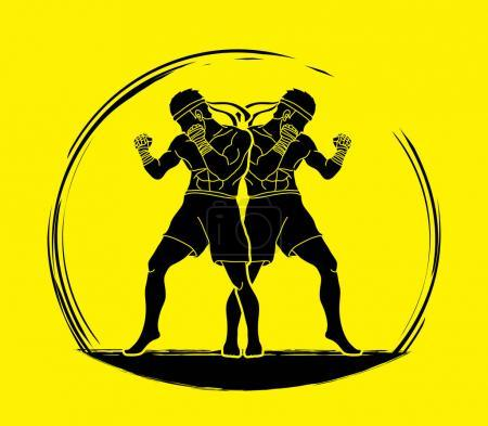 Muay Thai, Thai boxing standing ready to fight action graphic vector