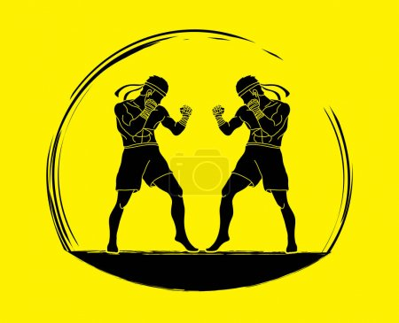Muay Thai, Thai boxing standing ready to fight action