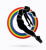Street Dance Dancer action designed on line rainbows background graphic vector