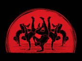 Group of people dancing Dancer action Street dance team Hip hop or B boy dance designed on sunlight background graphic vector