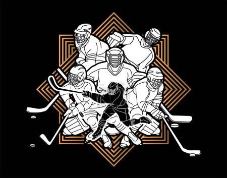 Illustration for Ice Hockey players action cartoon sport graphic vector - Royalty Free Image