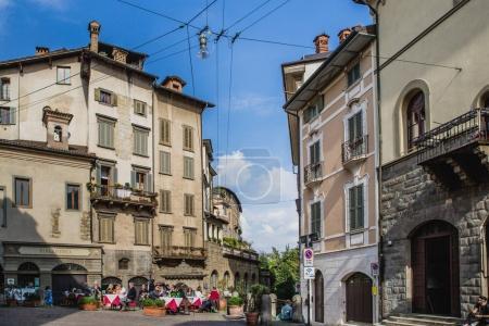 Cozy streets of old Bergamo city