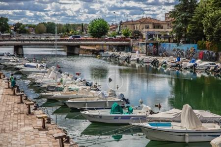 Yachts and boats in harbour of Rimini city, Italy
