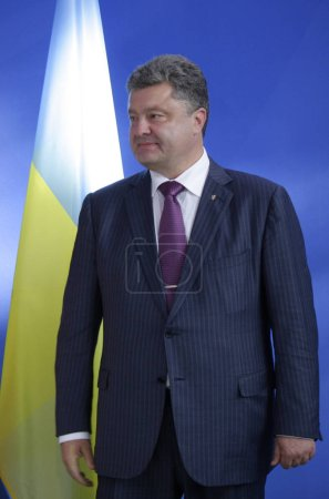 Photo pour 5 juin 2014 - Berlin: le nouvellement élu Président ukrainien Petro Poroshenko lors d'une conférence de presse avant une rencontre avec le chancelier allemand dans la Chanclery à Berlin. - image libre de droit