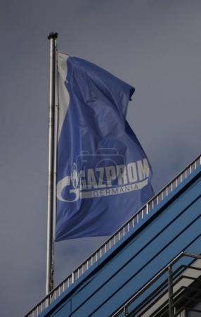 Photo pour Logo de la marque «Gazprom», Berlin. - image libre de droit