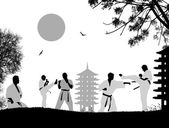 Karate fighters silhouette on white background vector illustration
