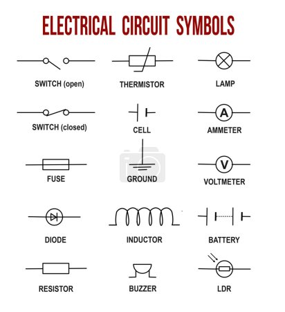 Illustration for Electrical circuit symbols on white background (Helpful for basic Education & Schools), vector illustration - Royalty Free Image