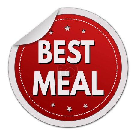 Illustration pour Meilleur autocollant repas sur fond blanc, illustration vectorielle - image libre de droit
