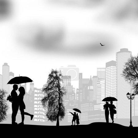 People walking in rain