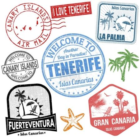 Set of travel grunge stamps with Canary Islands on...