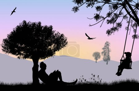 Illustration for Woman reading a book under the tree on beautiful landscape, vector illustration - Royalty Free Image