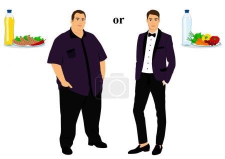 Illustration pour Mince et gras. Une bonne nutrition. De gros à minces. Avant et après. Mode de vie sain. L'homme devient mince. Objets isolés. Illustration vectorielle . - image libre de droit
