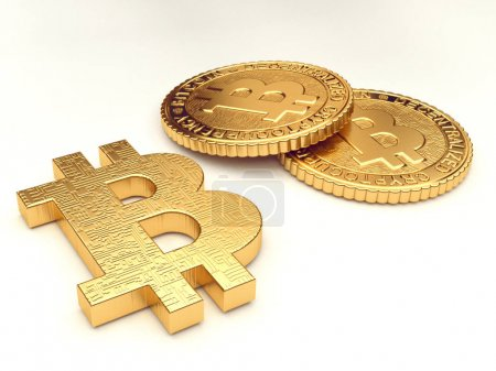 Photo for Closeup of Group of golden coins, internet money theme - Royalty Free Image