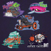 Funny vehicle caricatures