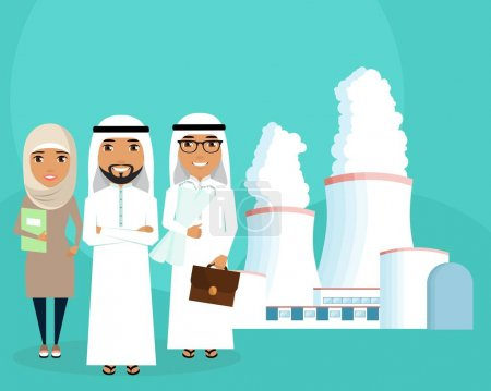 Illustration for A young team of engineers. A group of engineers and constructors of the Arab nationality. Development of energy sources. Successful people - Royalty Free Image