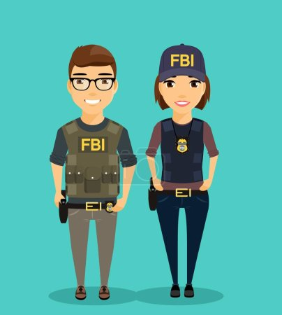 Illustration pour Les jeunes hommes et les jeunes femmes du Bureau fédéral d'enquête sont côte à côte. Professionnels dans leur domaine. Une fille et un gars habillés en gilet pare-balles. Profession dangereuse - image libre de droit
