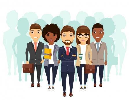 Illustration pour Un groupe d'hommes d'affaires de différents groupes ethniques en costume d'affaires derrière le leader. Professionnels dans leur domaine. En style plat sur fond blanc . - image libre de droit