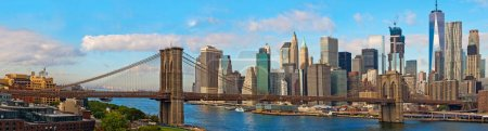 Photo for Brooklyn Bridge and Cityscape of New York. Panoramic view - Royalty Free Image